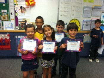 Congratulations to our Math Winners- Chance, Abriela, Jose, Marlie,Jack